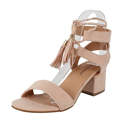 TOP Moda Women's Tassel Stacked Block Heel Gladiator Sandal (6 B(M) US, - Block Wedge
