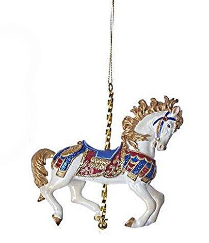 Carousel Animal Ornament - White Prancing Horse