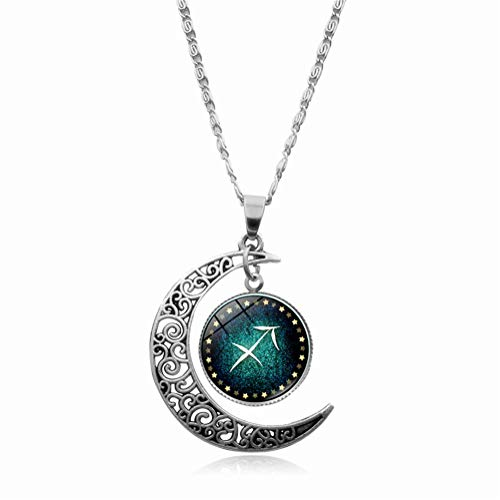 Sagittarius Constellation Necklace Pendant Time Gemstone Luminous Glow Long Sweater Chain Necklace Jewelry Fahion (Sagittarius)