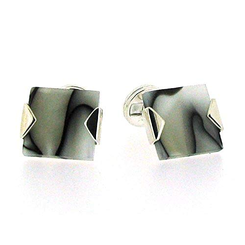 (The Olivia Collection 925 Silver Square Shaped Cufflinks with Black & White Marble Design by TOC)