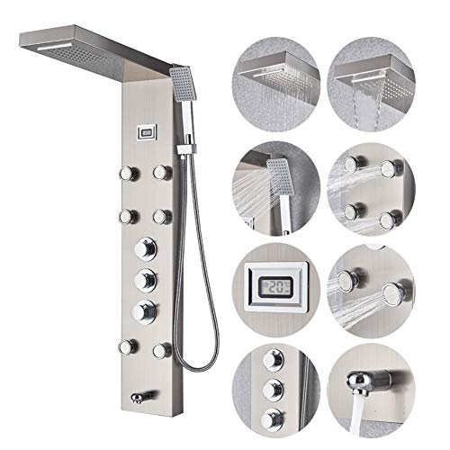 Votamuta Brushed Nickel Bathroom Shower Panel System,Rainfall Waterfall Shower Head,6 Massage Jets,Hand Sprayer,Shower Tower