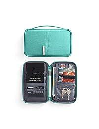 HITTIME Travel Wallet Passport Holder Waterproof RFID Blocking Card Organiser with Hand Strap Zip,Ticket Cash Coins Holder Case, Blue Small