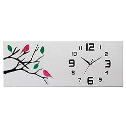 MCC Fashion Creative Wall Clock Pastoral Style Lotus Trees Birds Rectangle Silent Clocks , c