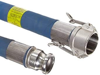Continental ContiTech Hi-Per Blue FEP Chemical Hose Assembly, Stainless Steel 316 Cam And Groove Couplings, 200 PSI Max Pressure