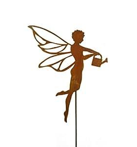 oxidado Fliegende Hada con regadera, altura 50cm–Jardín Escala para casa y el regalo