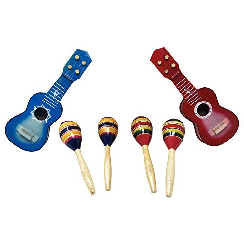 Mexican Fiesta Noisemaker Pack with 2 Mini Musical Guitars and 2 Maracas, Colorful Mexican Party Decorations/Supplies, Assorted Color Wooden Toys used for New Year's Eve or as Classroom Musical Instruments. by La Mexicana