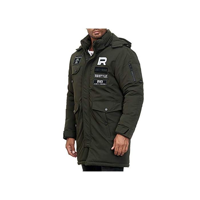 41Ep7 kDbiL Abrigo   Parka de invierno para hombres de la marca Redbridge Chaqueta de invierno cálida y moderna con capucha extraíble y muchos bolsillos prácticos 100% Poliéster