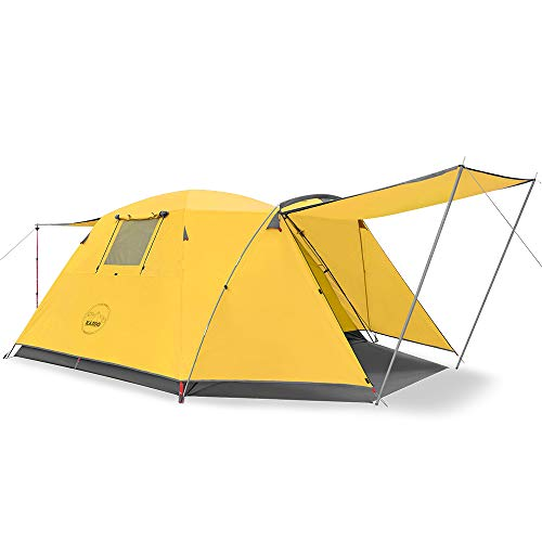 KAZOO Outdoor Camping Tent Durable Waterproof, Family Large Tents 4 Person, Easy Setup Tent with Porch Double Layer (Yellow)