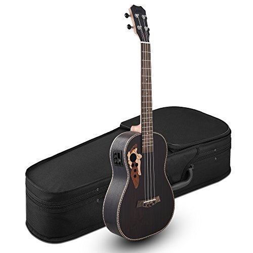 All Solid Rosewood - Caramel CT503 Tenor Acoustic & Electric Ukulele with Truss Rod & Hard Case by Caramel
