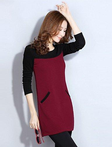 Mini Red 2xl Aux Arrondi Mosaïque Tailles Femmes Robe Polyester Col Grandes Lyq Coton Décontracté Travail HxnORv4vwq