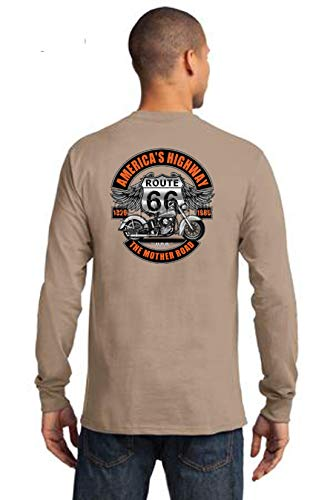 Biker Route 66 Mother Road 100% Cotton Mens Long Sleeve T Shirt (Small, Sand)