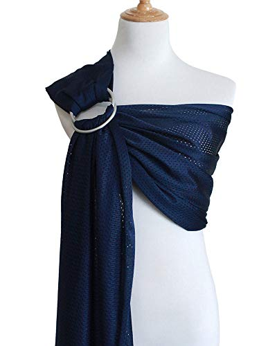 Pattern Infant Sling (Vlokup Baby Water Ring Sling Carrier | Lightweight Breathable Mesh Baby Wrap for Infant, Newborn, Kids and Toddlers | Perfect for Summer, Swimming, Pool, Beach | Great for Dad too Blue)