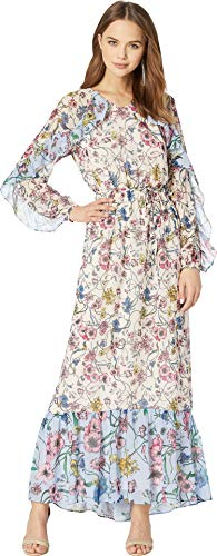 Juicy Couture Women's Mixed Floral Maxi Dress Eggshell/Sweat Cornflower Large