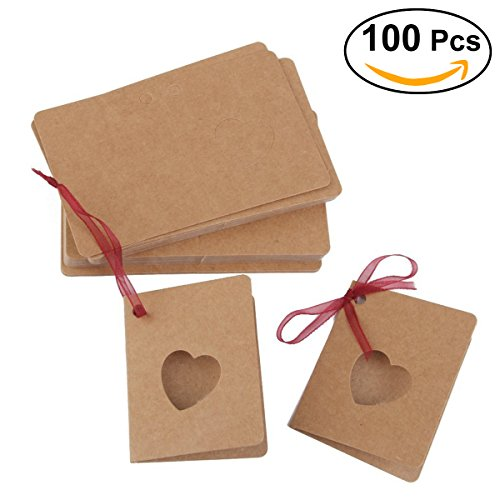 OULII Card Tag Kraft Paper Hang Tag with Red Rope Hollow Heart Shape Lable for Wedding Birthday Valentine's Day Decoration, pack of 100