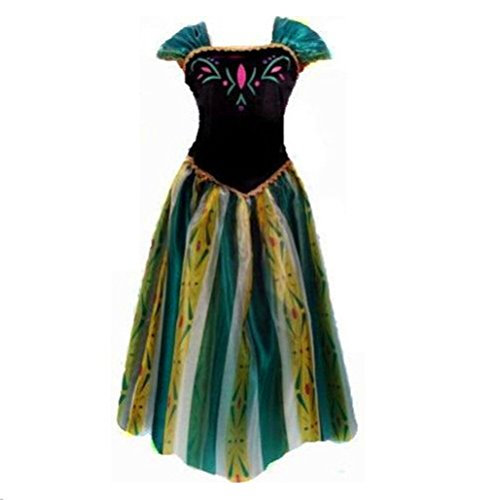 kuisen Princess Costume Ault Women Anna Elsa Coronation Dress Costume (L Size fit for US (Adult Size Elsa Dress)