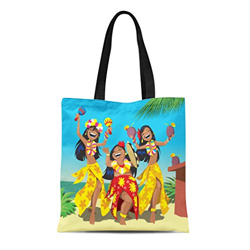 Semtomn Canvas Tote Bag Dance Hawaii Party Three Young Hula Girls Dancing Beach Durable Reusable Shopping Shoulder Grocery Bag - Flower Canvas Bag Tote Girl