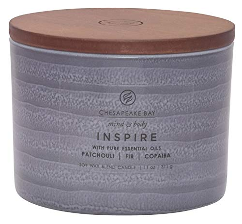 Chesapeake Bay Candle Mind & Body Serenity Scented Candle, Inspire with Pure Essential Oils (Patchouli, Fir and Copaiba), Coffee Table, Grey