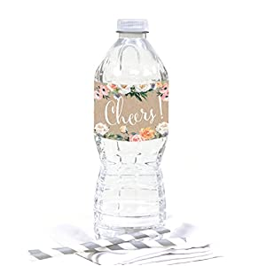 Andaz Press Peach Coral Kraft Brown Rustic Floral Garden Party Wedding Collection, Water Bottle Labels, 20-Pack