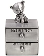 DYNWAVE Silver Tooth Holder, Baby First Tooth and Curl Keepsake Box Set, Infants Teeth Fairy Container Gift Box for Both Girls and Boys