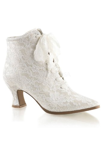 Ivory Womens Boots - Fabulicious Women's VIC30/Ivsa Boot, Ivory Satin/Lace, 9 M US