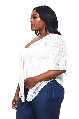 Womens Off-White Ivory Plus Size Cascading Soft Lace Bolero Cardigan Shrug Top