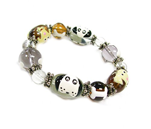 Linpeng Fiona 3D Hand Painted Dogs and Bones on Clear and Brown Glass Beads Stretch Bracelet_Iup03-3 - 3d Dog Bone