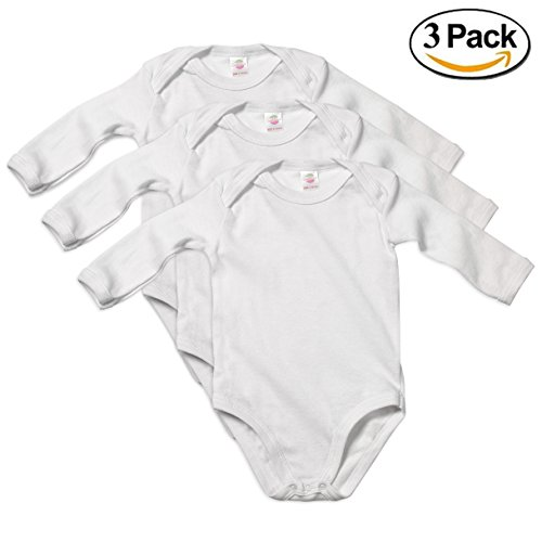 Baby Undershirt Cotton (Candyland Solid 3 Pack White Long-Sleeve Onesies 100% Soft Cotton Baby's Undershirts (12 Months, Long Sleeve))