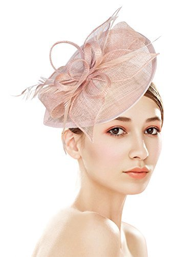 Z&X Sinamay Fascinator Pillbox Hat with Headband Hair Clip for Wedding Party Pink