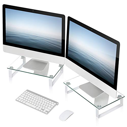 FITUEYES Clear Computer Monitor Riser Dual Desktop Stand for Xbox One/Component/Flat Screen TV -2 Pack,DT103805GC