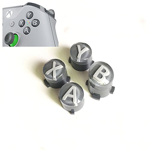 A B X Y Buttons Letters Mod Menu Button for Xbox One S Slim Elite Controller (Grey with White)