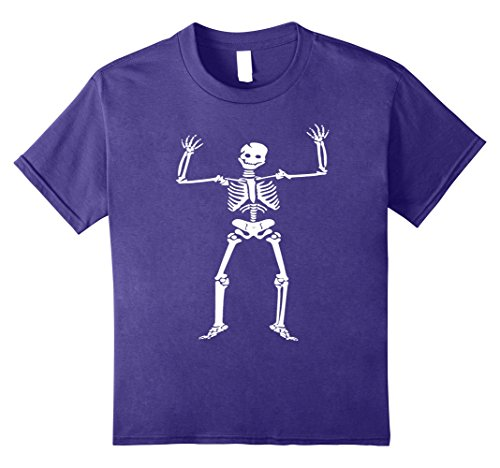 Kids Halloween Smiling Skeleton Costume Shirt 10 Purple