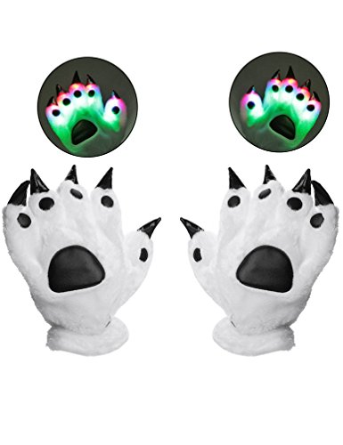Luwint LED Finger Lighting Gloves - Youth Adult Amazing Color Changing Flashing Dinosaur Bear Paw Toys Gloves for Birthday Party Cosplay Costume, 1 Pair