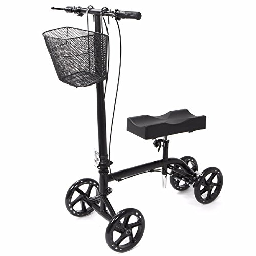 Eight24hours New Steerable Foldable Knee Walker Scooter Turning Brake Basket Drive Cart Black