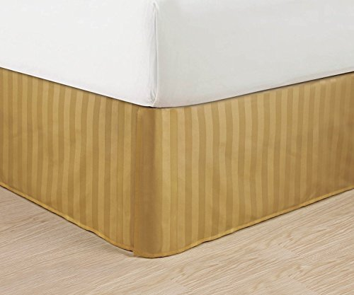 Bed Gold Stripe - Wrinkle Free - Egyptian Quality STRIPE Bed Skirt - Pleated Tailored 14