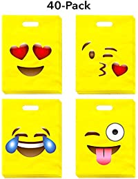 Emoji Party Bags (40-Pack) - Fun & Cute Emoji Designs (4 Styles) - Great for Treats, Favors, Gifts, Birthday Celebrations, School and Classroom Parties, Games and Carnivals - 9 X 12 Inches