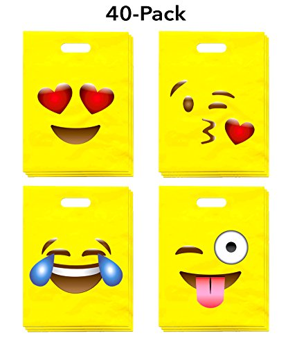 LiveEco Emoji Party Favor Treat Bags 40-Pack (9x12), Great for Kids Birthday Parties, Celebrations, Fun Classroom Rewards, Carnivals, Games & Candy Goodie Grab Bag, Deluxe Emoticon Gift Supplies -