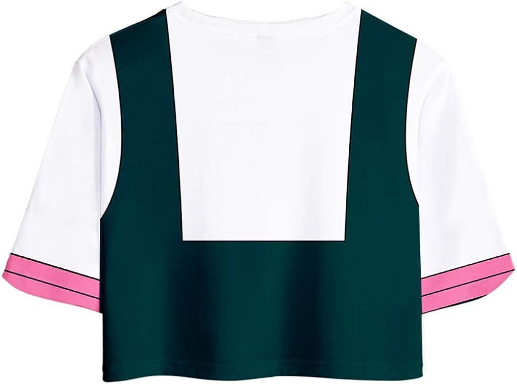 Memoryee 3D Boku No Hero Academia Maglietta Crop Top Maglietta e Shorts Abbigliamento Cosplay Uniforme Abbigliamento da Due Pezzi per Estate Abbigliamento Sportivo da Donna e Ragazze