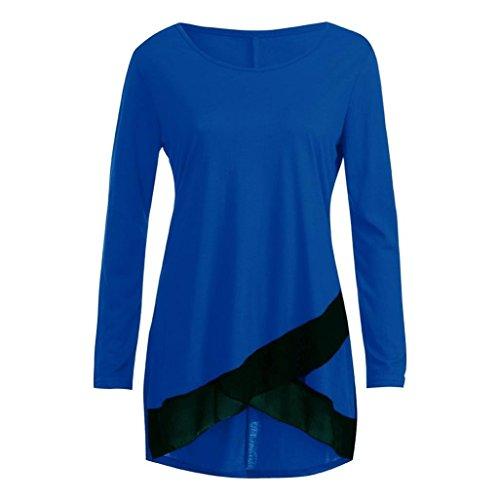 UONQD Women O Neck Lace Patchwork Long Blouse Tops Shirts – DiZiSports Store