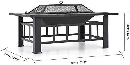 CRZJ Table carrée pour Barbecue extérieur avec Foyer, Foyer arrière-Jardin, poêle à Bois avec Pare-étincelles, Poker, Couverture, Grill, 32 ''