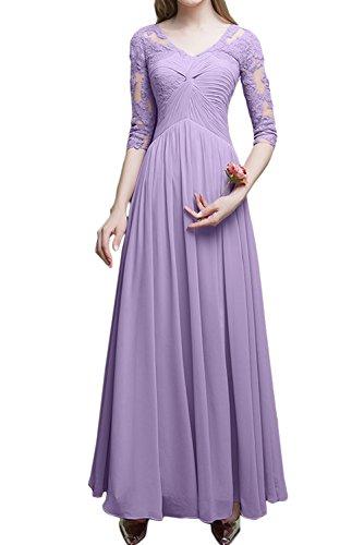 Mit Aermeln Ivydressing Damen Ballkleid Lang Hochwertig Brautmutterkleider Festkleid Abendkleider Lila wUBUIq