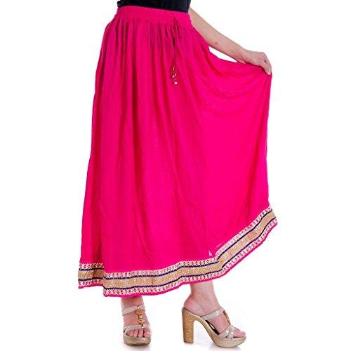 Jaipuri Rayon Pink Base Lehanga Skirt