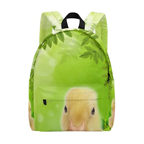 (School Backpack Daypack Lightweight 2 Flappers Duck On Spring Meadow Rucksack Canvas Book Bag for boys girls Kids)