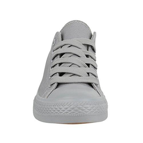 Unisex Damen Top Bequeme Sportschuhe Schuhe Herren Sneaker und Grey New Low Textil Elara All Turnschuh für 1dqXwx1C