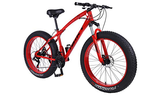 Ibiky 26 Inch Wheel 21 Speed 4.0 Fat Tire Bike Snow and Grass Sand Bicycle Mountain Bike,with Powerful Disc Brakes Fatbike (Red)