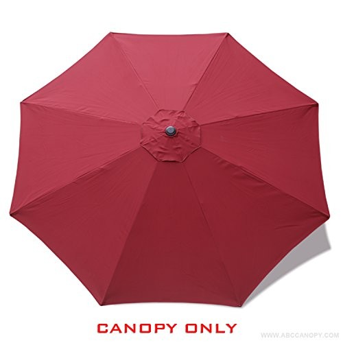MASTERCANOPY Replacement Market Umbrella Canopy for 9ft 8 Ribs (Canopy Only) (Burgundy)