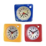 lighted tabletop clock - B Blesiya 3pack Small Battery Operated Analog Travel Alarm Clock Silent, Lighted on Demand and Snooze, Beep Sounds, Ascending Alarm
