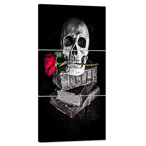 Halloween Painting Book Skull Face Canvas Black and White Wall Art Day of the Dead Skeleton Red Rose Human Bone Prints Home Decro Giclee,Home Decor Wooden Framed Stretched Ready to Hang(24''Wx48''H)]()