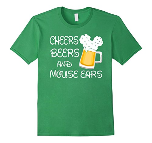 Mens Cheers Beers And Mouse Ears T-Shirt Large Grass
