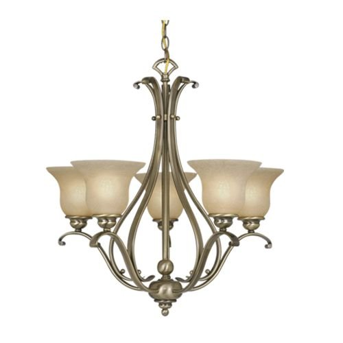 Vaxcel USA CH35405AC Monrovia 5 Light Transitional Chandelier Lighting Fixture in Brass, - Light Five Brass Antique Chandelier