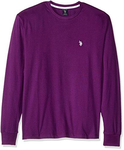 U.S. Polo Assn. Men's Long Sleeve Crew Neck T-Shirt, Stark Purple, Medium